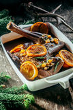 Roasted Venison Haunch in Pan with Citrus Slices. Roasted Venison Haunch in Roasting Pan Seasoned with Fresh Herbs and Orange Citrus Slices on Rustic Wooden royalty free stock photos