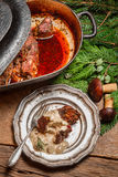 Roasted venison served with mushroom sauce Royalty Free Stock Photo