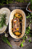 Roasted venison with vegetables Stock Photos