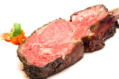 Roasted Wagyu beef steak. Gourmet Main Entree Course Roasted Wagyu beef steak Stock Photography