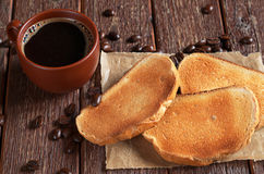 Roasted white bread and coffee Stock Photography