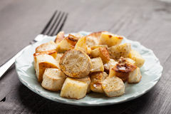 Roasted White Sweet Potatoes and Parsnips angled view Stock Image