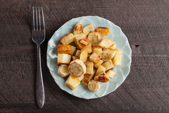 Roasted White Sweet Potatoes and Parsnips Top View Stock Photography