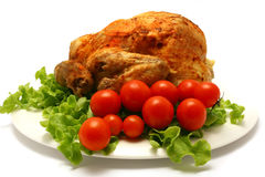 Roasted whole chicken with cherry tomato Stock Images