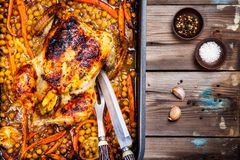 Roasted whole chicken with chickpeas, carrots and lemons Royalty Free Stock Images