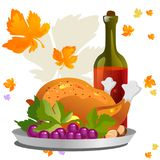 Roasted whole chicken or turkey sauced and grilled autumn vegetables, wine isolated on white background with yellow. Orange leaves. Thanksgiving Day food Stock Photo