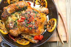 Roasted whole chicken with vegetables Stock Image