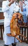 Roasted whole lamb, prepared in earth oven Royalty Free Stock Photos