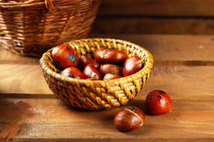Roasted wild chestnuts Stock Photos
