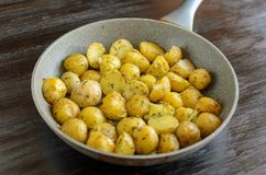 Roasted young potatoes in a pan royalty free stock images