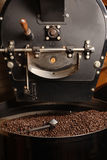 Roaster cooling coffee beans. The freshly roasted coffee beans from a large old coffee roaster being stirred in the cooling cylinder royalty free stock photo