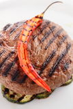 Roaster meat with garnish Royalty Free Stock Images