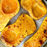 Roasting Butternut Pumpkin for Soup Royalty Free Stock Image