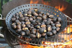 Roasting chestnuts Stock Images