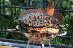 Roasting chestnuts Royalty Free Stock Photography