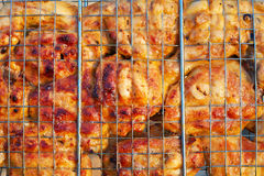 Roasting chicken. Cooking meat on the fire. Royalty Free Stock Photo