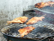 Roasting chicken. Food in outdoor Royalty Free Stock Photo