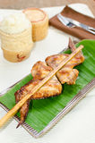 Roasting chicken with sticky rice Royalty Free Stock Image