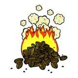Roasting coffee beans cartoon Royalty Free Stock Photo