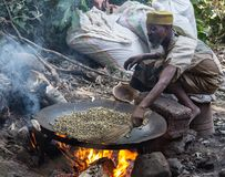 Roasting coffee beans in the ethiopian way Stock Image