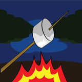 Roasting a marshmallow vector illustration