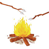 Roasting marshmallow vector. Illustration of sticks with marshmallows held above burning fire + vector eps file Stock Photo