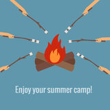 Roasting marshmallows on fire camping Stock Photography
