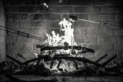 Roasting Marshmallows over a Fire. Black and White picture portraying roasting marshmallows over an outdoor brick fireplace Royalty Free Stock Photos