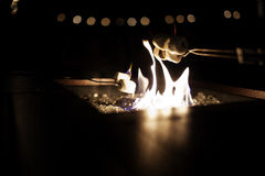Roasting marshmallows. Over a gas fire pit Stock Images