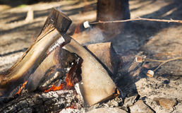 Roasting Marshmallows. Person roasting marshmallows on a stick over a campfire while camping Royalty Free Stock Images