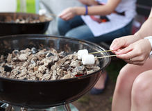 Roasting marshmallows on a stick over the fire. Royalty Free Stock Photos