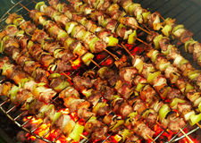 Roasting meat on a barbecue Stock Photography