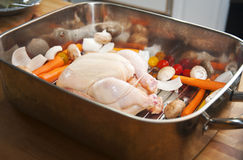 Roasting pan with raw chicken Royalty Free Stock Photo