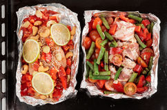 Roasting pan with two uncooked dishes Stock Image