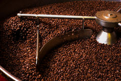 Roasting process of coffee, production Royalty Free Stock Images