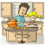 Roasting Pumpkin Seeds. This illustration that I created depicts 2 children roasting pumpkin seeds Stock Photography