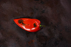 Roasting Red Peppers. The Process. Ajvar. Stock Photos