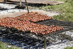 Roasting sausages Royalty Free Stock Images