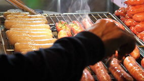 Roasting Sausages.HD stock video footage