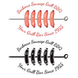 Roasting sausages on spit with text grill bar. Bbq bar restaurant label Stock Photos