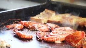 Roasting seafood stock video