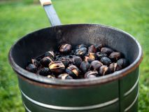 Roasting seasonal hot chestnuts in autumn stock photos