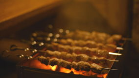 Roasting shish kebabs on the grill. stock video footage