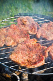 Roasting steaks on bbq Royalty Free Stock Photography