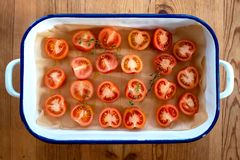 Roasting tomatoes royalty free stock photos