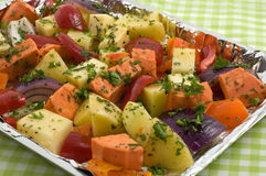 Prepared vegetables for roasting Royalty Free Stock Photo