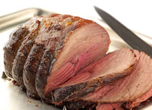 Roat Beef, carved royalty free stock photography