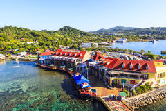 ROATAN ILAND HONDURAS. JAN 28 2016: Coxen Hole, Roatan Town, is the capital of the Bay Islands of Honduras, with a population of 5,070, Favorite spot for cruise stock photos