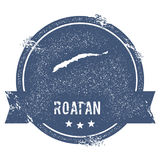 Roatan logo sign. Travel rubber stamp with the name and map of island, vector illustration. Can be used as insignia, logotype, label, sticker or badge Stock Photos