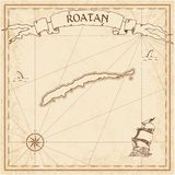 Roatan old treasure map. Sepia engraved template of pirate island parchment. Stylized manuscript on vintage paper Stock Image
